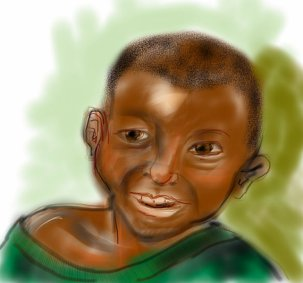 Young Tanzanian student painted for brochure