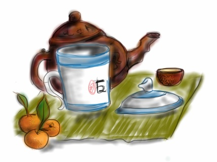 Very old teapot, new cup, very new tangerines