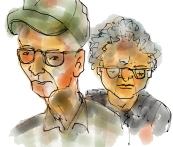 Elderly couple I saw at the airport on afternoon. I thought the look archetypal