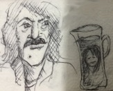 girl in a pitcher (pencil on a napkin)
