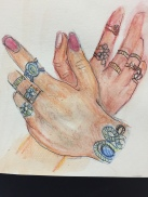 Hands with rings (watercolor and ink)